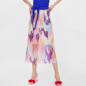 Zara sequin tulle skirt